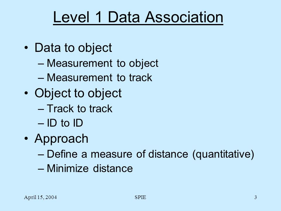 April 15, 2004SPIE3 Level 1 Data Association Data to object –Measurement to object –Measurement to track Object to object –Track to track –ID to ID Ap