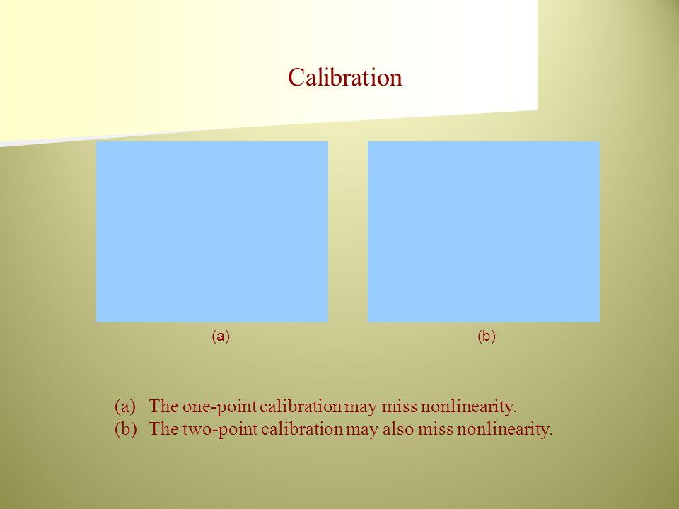 (a)(b) (a)The one-point calibration may miss nonlinearity. (b)The two-point calibration may also miss nonlinearity. Calibration