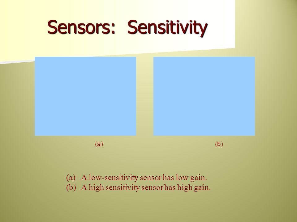 (a)A low-sensitivity sensor has low gain. (b)A high sensitivity sensor has high gain.