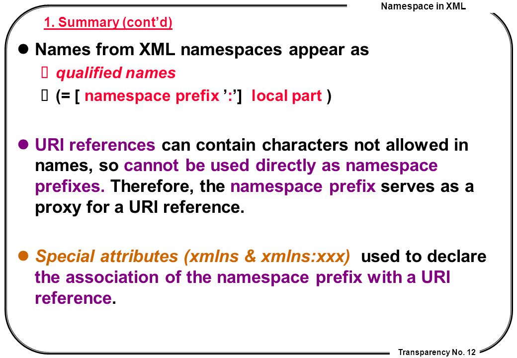 Namespace in XML Transparency No. 12 1. Summary (cont'd) Names from XML namespaces appear as qualified names (= [ namespace prefix ':'] local part ) U