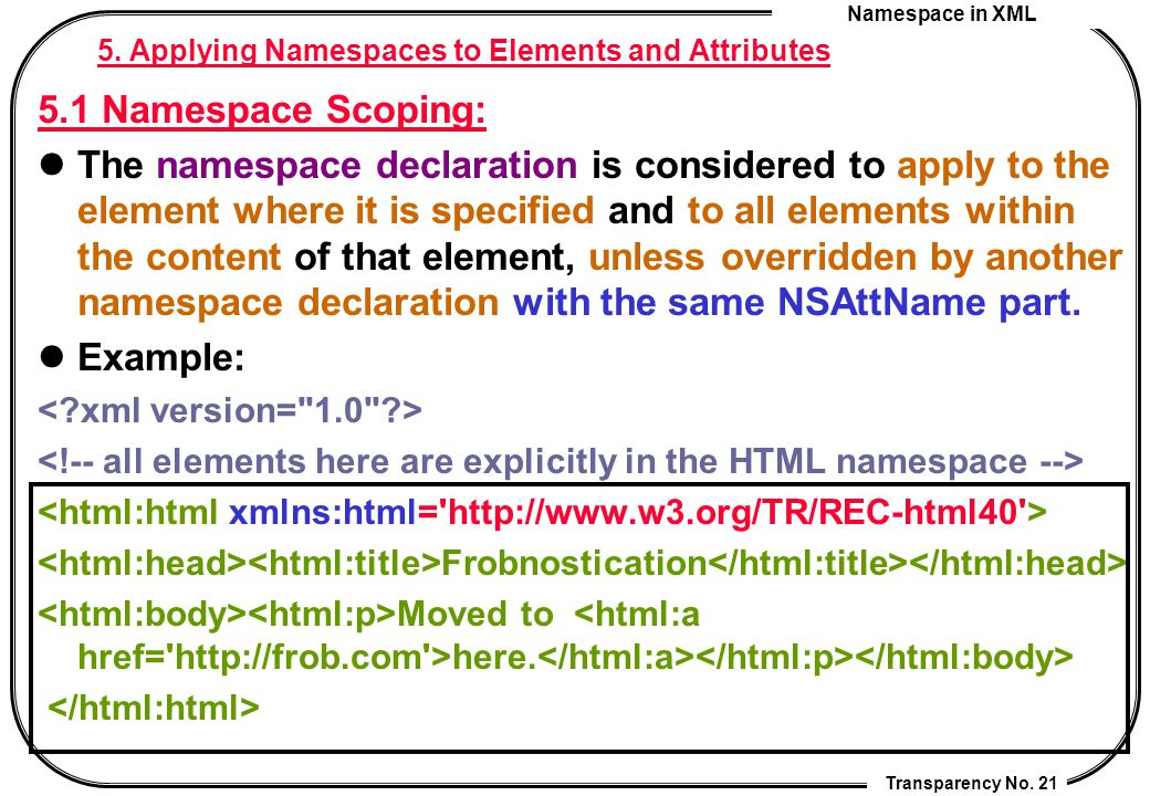 Namespace in XML Transparency No. 21 5. Applying Namespaces to Elements and Attributes 5.1 Namespace Scoping: The namespace declaration is considered