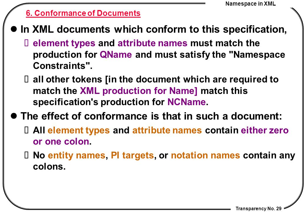 Namespace in XML Transparency No. 29 6. Conformance of Documents In XML documents which conform to this specification, element types and attribute nam