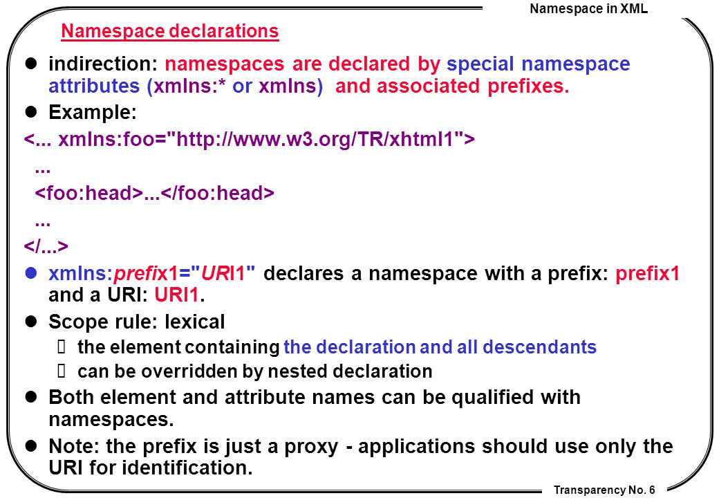 Namespace in XML Transparency No. 6 Namespace declarations indirection: namespaces are declared by special namespace attributes (xmlns:* or xmlns) and
