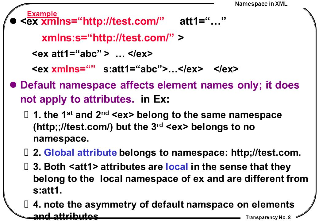"Namespace in XML Transparency No. 8 Example <ex xmlns=""http://test.com/"" att1=""…"" xmlns:s=""http://test.com/"" > … Default namespace affects element nam"