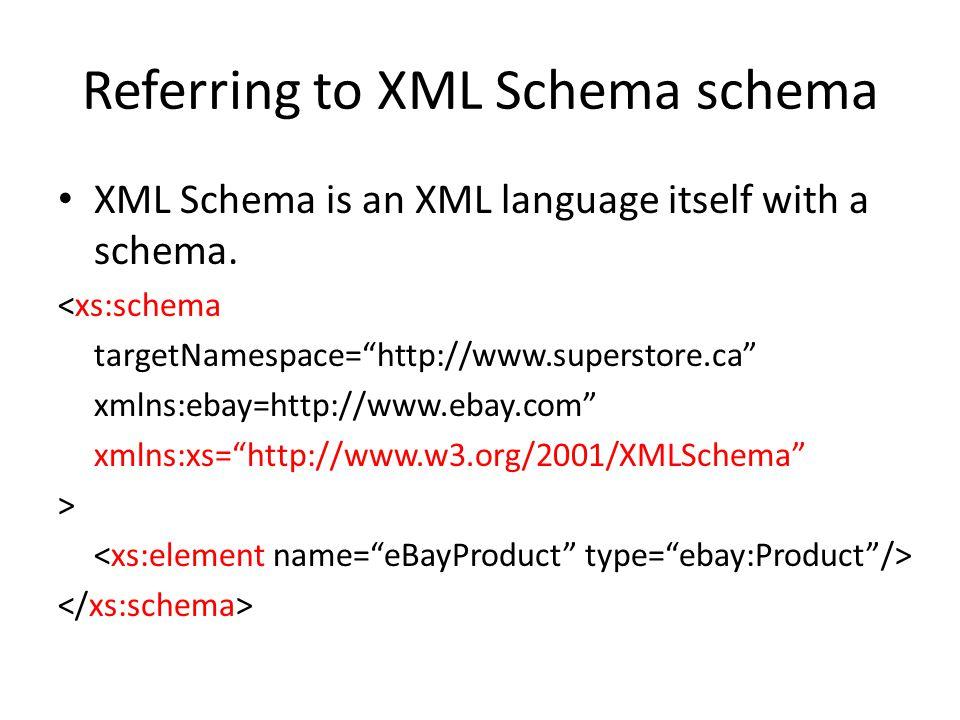 Referring to XML Schema schema XML Schema is an XML language itself with a schema.