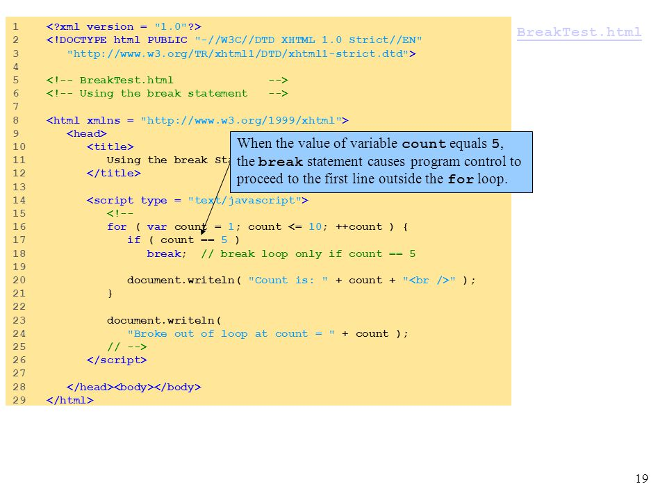 19 BreakTest.html 1 2 <!DOCTYPE html PUBLIC -//W3C//DTD XHTML 1.0 Strict//EN 3 http://www.w3.org/TR/xhtml1/DTD/xhtml1-strict.dtd > 4 5 6 7 8 9 10 11 Using the break Statement in a for Structure 12 13 14 15 <!-- 16 for ( var count = 1; count <= 10; ++count ) { 17 if ( count == 5 ) 18 break; // break loop only if count == 5 19 20 document.writeln( Count is: + count + ); 21 } 22 23 document.writeln( 24 Broke out of loop at count = + count ); 25 // --> 26 27 28 29 When the value of variable count equals 5, the break statement causes program control to proceed to the first line outside the for loop.