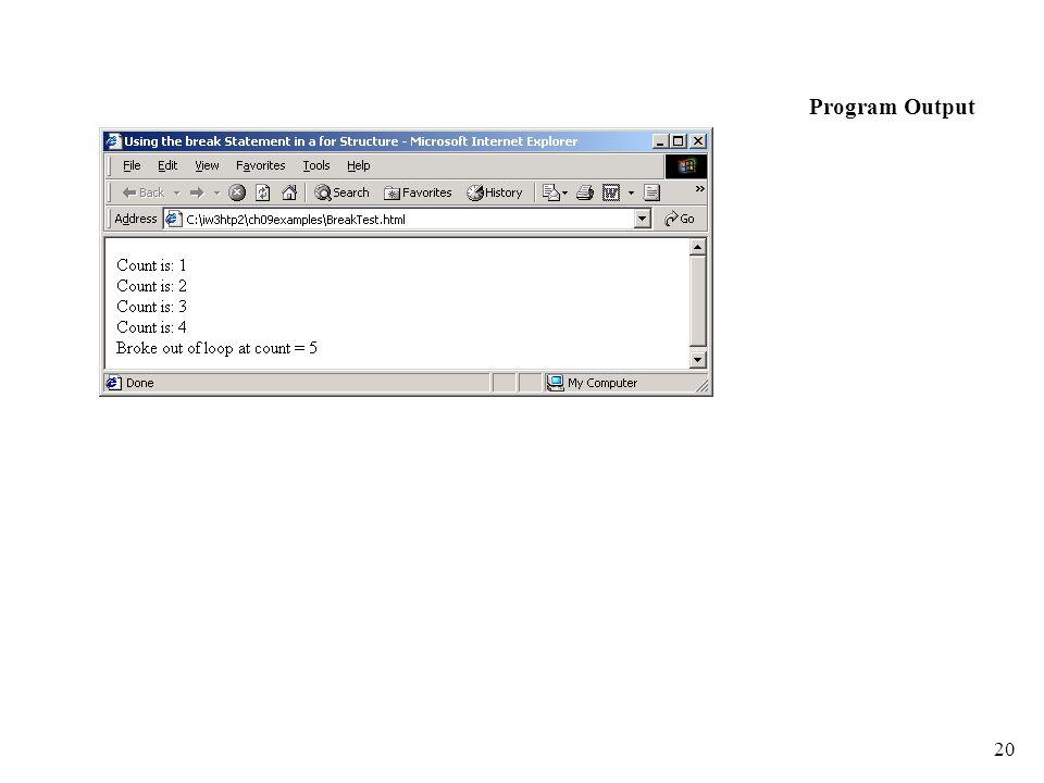 20 Program Output