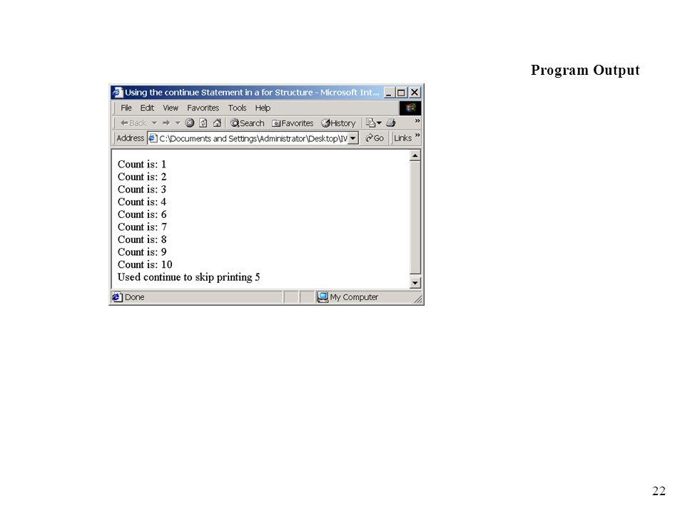 22 Program Output