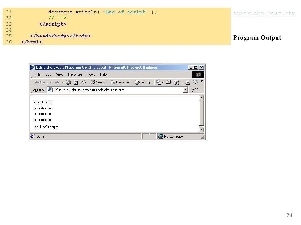 24 B reakLabelTest.htm B reakLabelTest.htm Program Output 31 document.writeln( End of script ); 32 // --> 33 34 35 36