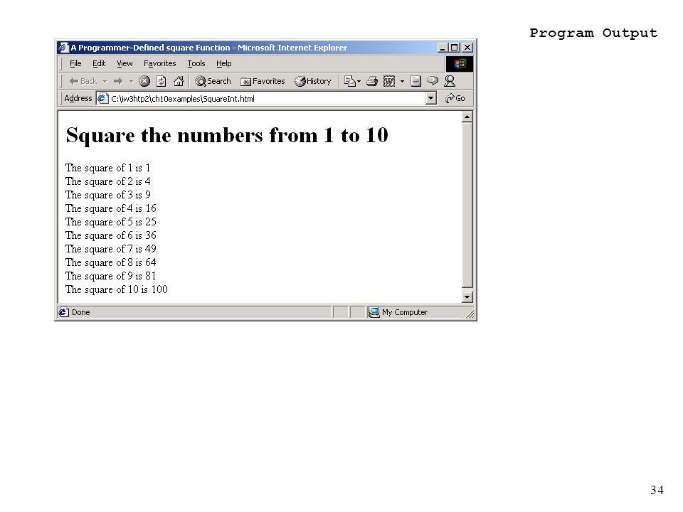 34 Program Output