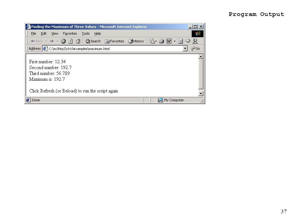 37 Program Output