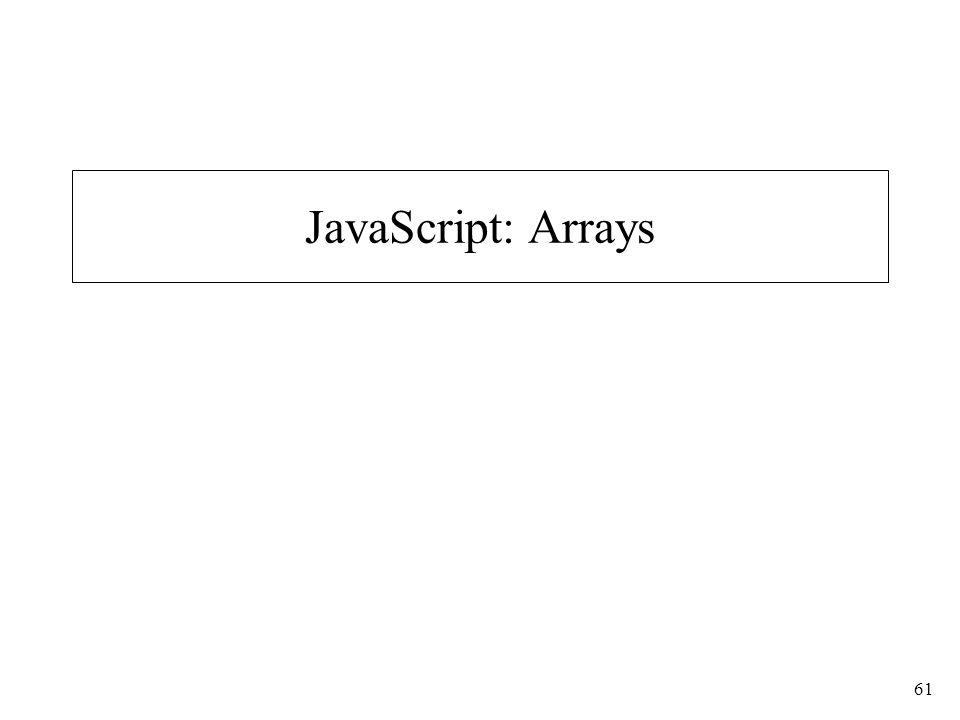 61 JavaScript: Arrays