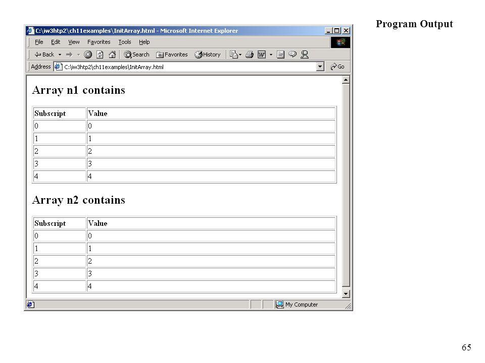 65 Program Output