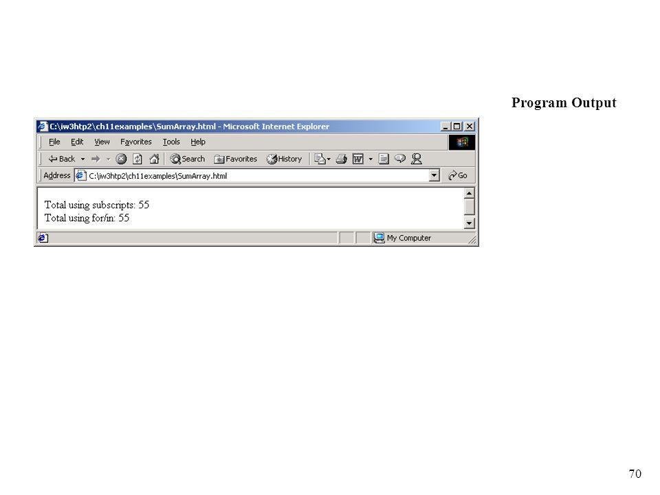 70 Program Output
