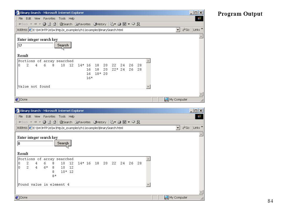 84 Program Output