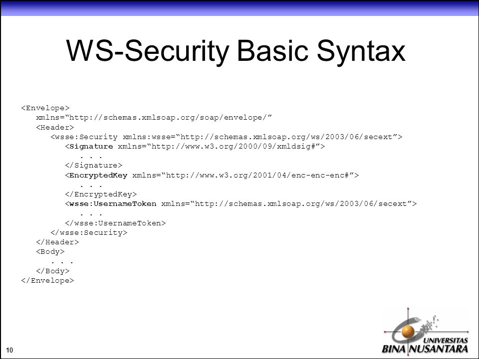 10 WS-Security Basic Syntax xmlns= http://schemas.xmlsoap.org/soap/envelope/ ............