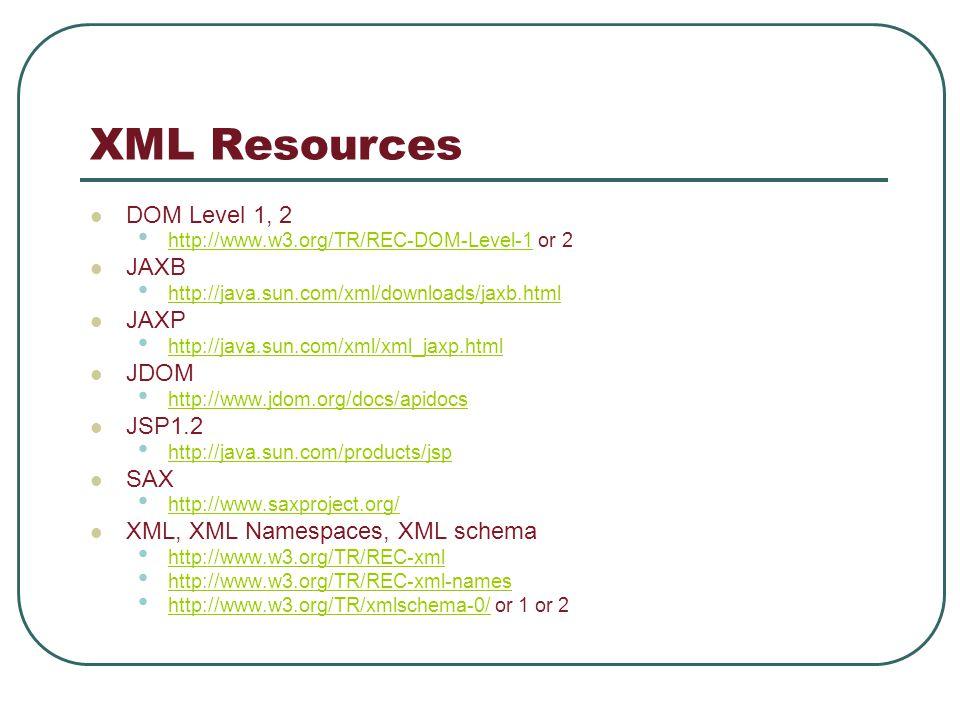 XML Resources DOM Level 1, 2 http://www.w3.org/TR/REC-DOM-Level-1 or 2 http://www.w3.org/TR/REC-DOM-Level-1 JAXB http://java.sun.com/xml/downloads/jaxb.html JAXP http://java.sun.com/xml/xml_jaxp.html JDOM http://www.jdom.org/docs/apidocs JSP1.2 http://java.sun.com/products/jsp SAX http://www.saxproject.org/ XML, XML Namespaces, XML schema http://www.w3.org/TR/REC-xml http://www.w3.org/TR/REC-xml-names http://www.w3.org/TR/xmlschema-0/ or 1 or 2 http://www.w3.org/TR/xmlschema-0/