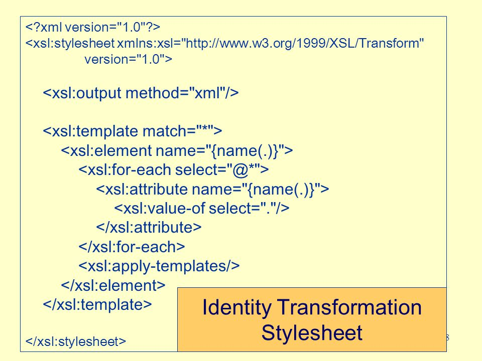 48 <xsl:stylesheet xmlns:xsl= http://www.w3.org/1999/XSL/Transform version= 1.0 > Identity Transformation Stylesheet