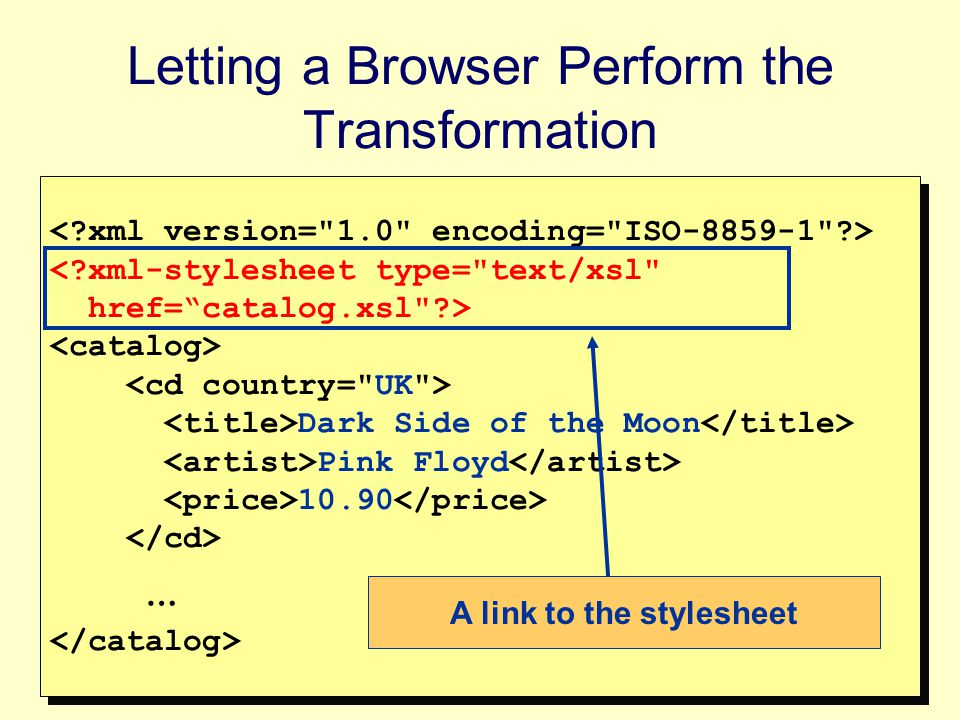 10 The Root of the XSL Document The Root of the XSL document should be one of the following lines: <xsl:stylesheet version= 1.0 xmlns:xsl= http://www.w3.org/1999/XSL/Transform > <xsl:transform version= 1.0 xmlns:xsl= http://www.w3.org/1999/XSL/Transform > The namespace allows the XSL processor to distinguish between XSL tags and tags of the result document