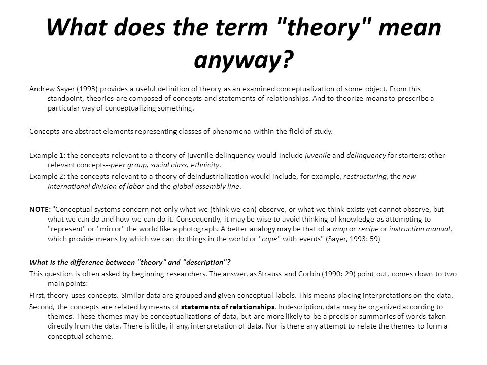 What does the term theory mean anyway.