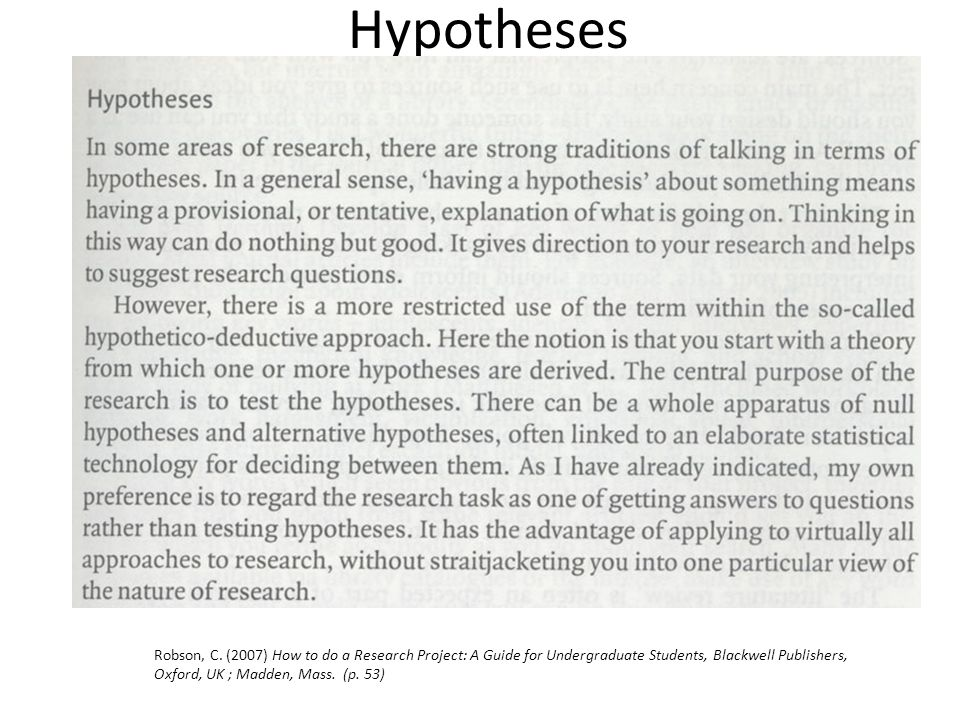 Hypotheses Robson, C. (2007) How to do a Research Project: A Guide for Undergraduate Students, Blackwell Publishers, Oxford, UK ; Madden, Mass. (p. 53