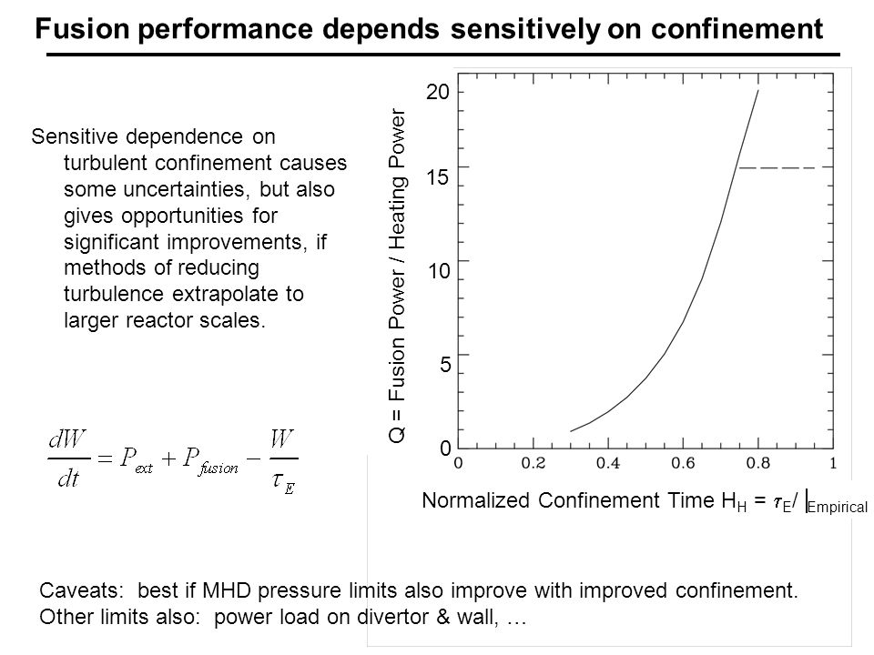 Normalized Confinement Time H H =  E /  Empirical Fusion performance depends sensitively on confinement Sensitive dependence on turbulent confinement causes some uncertainties, but also gives opportunities for significant improvements, if methods of reducing turbulence extrapolate to larger reactor scales.