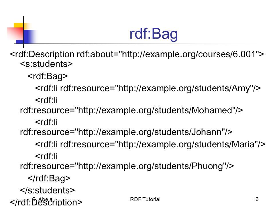 C. Abela RDF Tutorial16 rdf:Bag