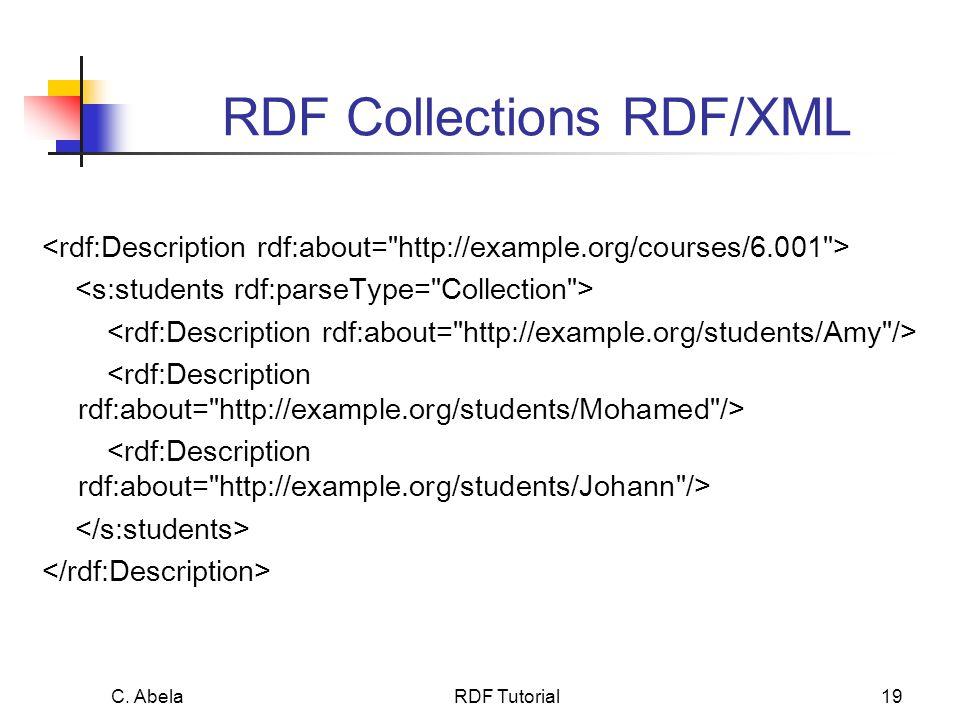 C. Abela RDF Tutorial19 RDF Collections RDF/XML