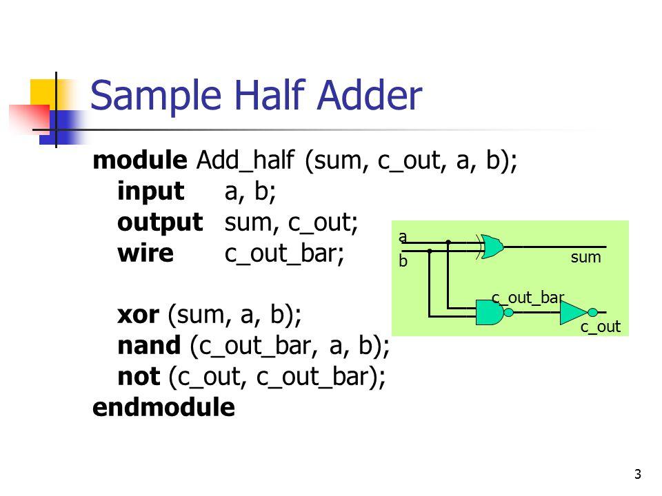 3 Sample Half Adder module Add_half (sum, c_out, a, b); inputa, b; outputsum, c_out; wire c_out_bar; xor (sum, a, b); nand (c_out_bar, a, b); not (c_o