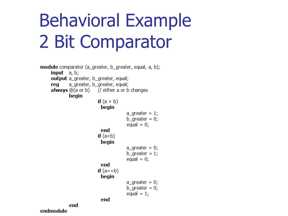 Behavioral Example 2 Bit Comparator module comparator (a_greater, b_greater, equal, a, b); inputa, b; outputa_greater, b_greater, equal; rega_greater,