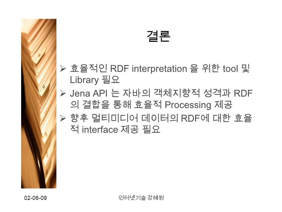 02-06-09 인터넷기술 강혜원 결론  효율적인 RDF interpretation 을 위한 tool 및 Library 필요  Jena API 는 자바의 객체지향적 성격과 RDF 의 결합을 통해 효율적 Processing 제공  향후 멀티미디어 데이터의 RDF 에 대한 효율 적 interface 제공 필요