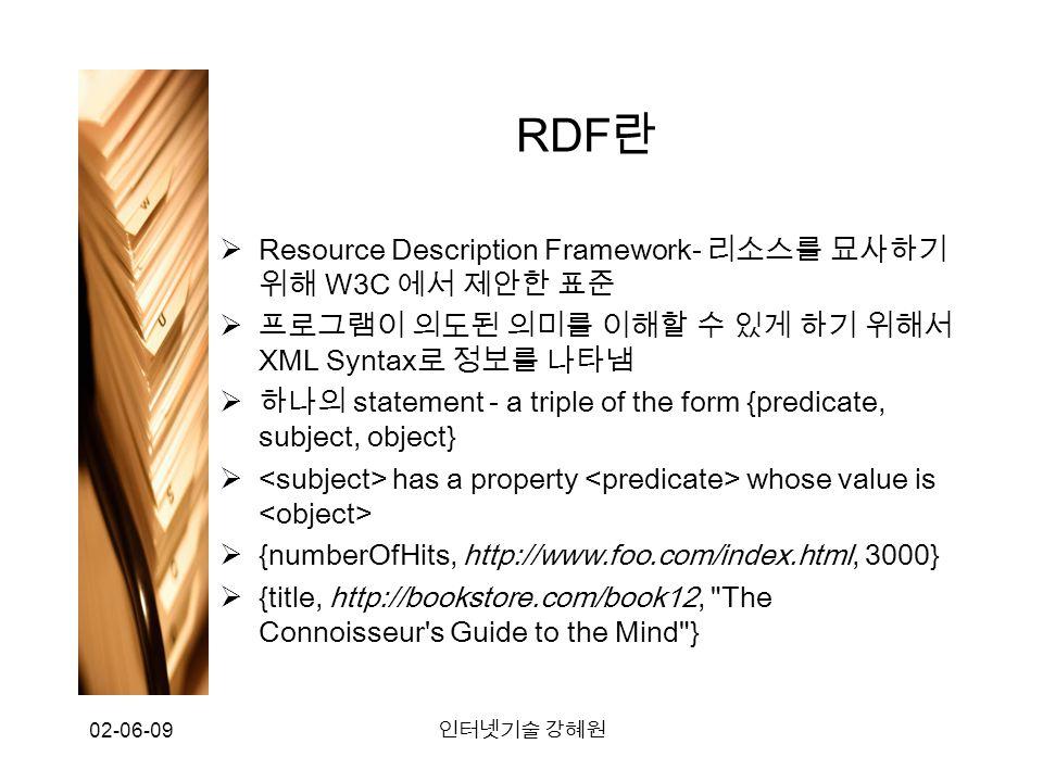 02-06-09 인터넷기술 강혜원 RDF 란  Resource Description Framework- 리소스를 묘사하기 위해 W3C 에서 제안한 표준  프로그램이 의도된 의미를 이해할 수 있게 하기 위해서 XML Syntax 로 정보를 나타냄  하나의 statement - a triple of the form {predicate, subject, object}  has a property whose value is  {numberOfHits, http://www.foo.com/index.html, 3000}  {title, http://bookstore.com/book12, The Connoisseur s Guide to the Mind }