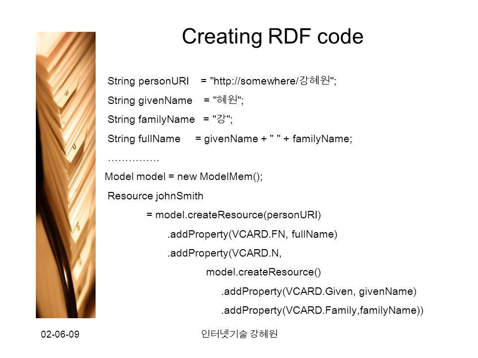 02-06-09 인터넷기술 강혜원 Creating RDF code String personURI = http://somewhere/ 강혜원 ; String givenName = 혜원 ; String familyName = 강 ; String fullName = givenName + + familyName; …………… Model model = new ModelMem(); Resource johnSmith = model.createResource(personURI).addProperty(VCARD.FN, fullName).addProperty(VCARD.N, model.createResource().addProperty(VCARD.Given, givenName).addProperty(VCARD.Family,familyName))