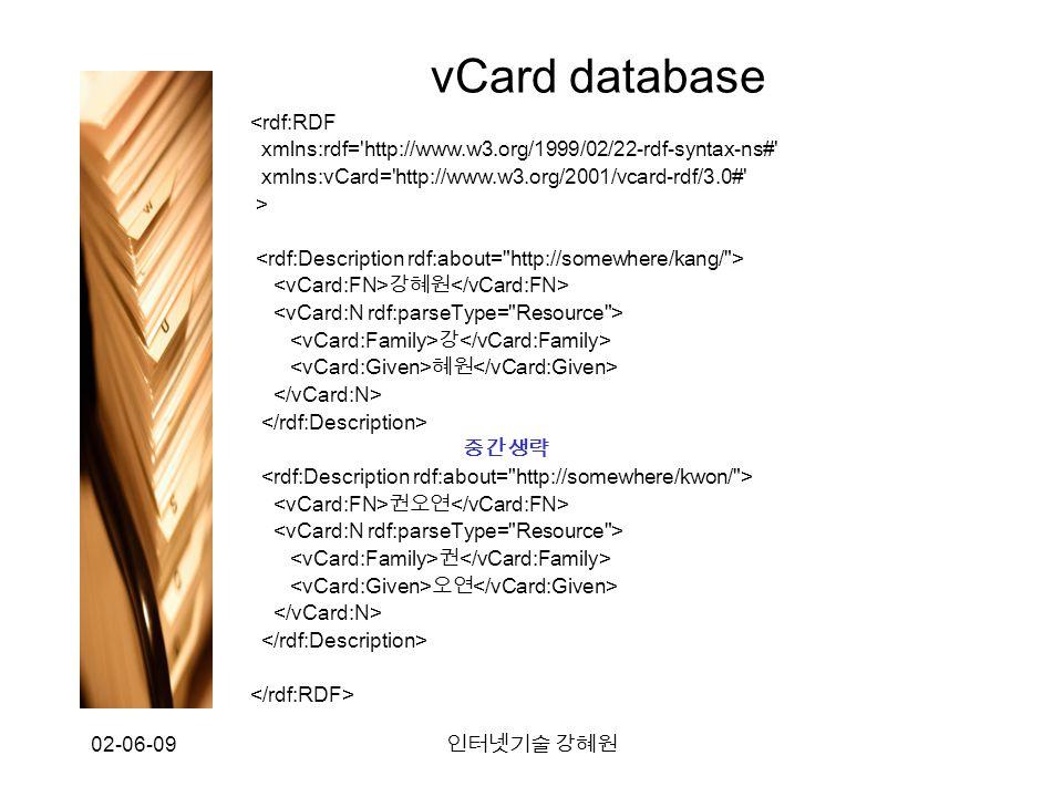 02-06-09 인터넷기술 강혜원 vCard database <rdf:RDF xmlns:rdf= http://www.w3.org/1999/02/22-rdf-syntax-ns# xmlns:vCard= http://www.w3.org/2001/vcard-rdf/3.0# > 강혜원 강 혜원 중간생략 권오연 권 오연