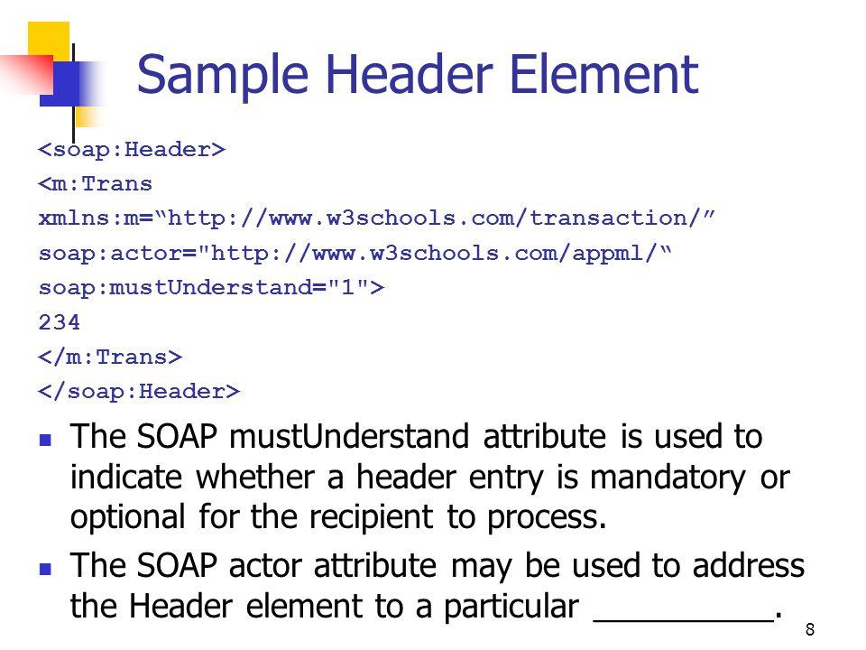 "8 Sample Header Element <m:Trans xmlns:m=""http://www.w3schools.com/transaction/"" soap:actor="