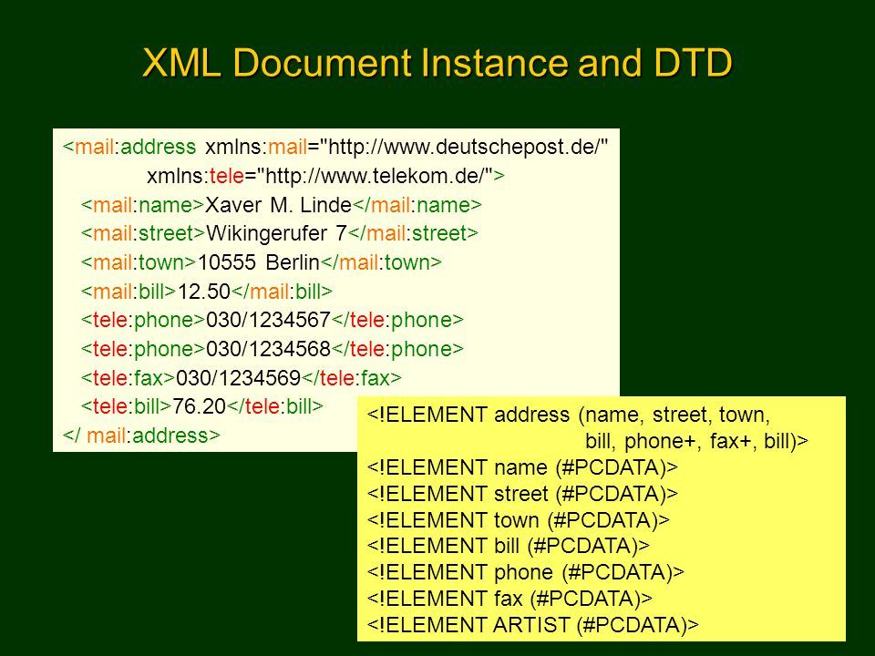 Semantic Web Portal14 XML Schema An XML syntax that s an alternative and/or supplement to DTDs Data typing of element and attribute content