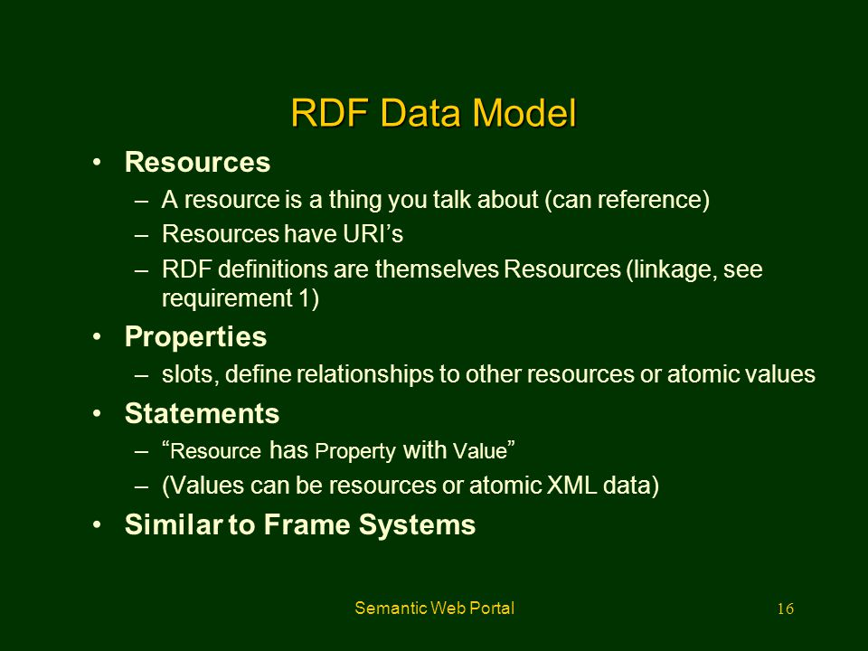 Semantic Web Portal16 RDF Data Model Resources –A resource is a thing you talk about (can reference) –Resources have URI's –RDF definitions are themse