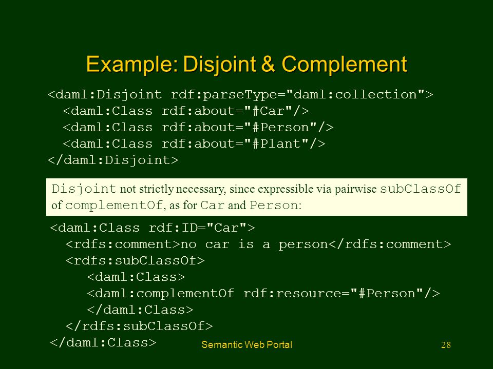 Semantic Web Portal28 Example: Disjoint & Complement no car is a person Disjoint not strictly necessary, since expressible via pairwise subClassOf of