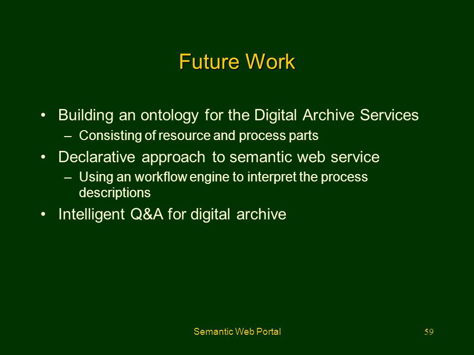 Semantic Web Portal59 Future Work Building an ontology for the Digital Archive Services –Consisting of resource and process parts Declarative approach