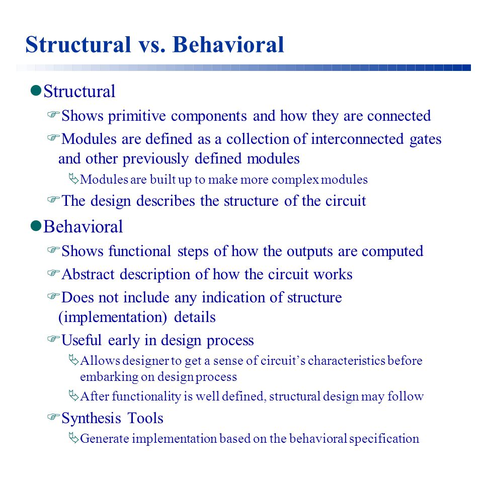 Structural vs. Behavioral Structural  Shows primitive components and how they are connected  Modules are defined as a collection of interconnected g