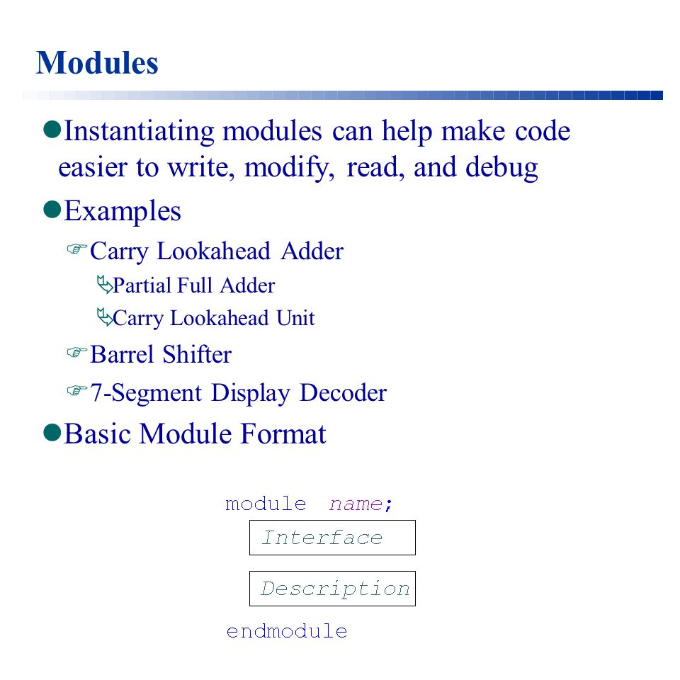 Full Adder Under Unit Delay Model Basic Module `timescale 1ns/1ns module fulladder() ; wire w1, w2, w3, w4, s, cout; reg a, b, c; xor #1 g1(w1, a, b), g2(s, w1, c); and #1 g3(w2, c, b), g4(w3, c, a), g5(w4, a, b); or #1 g6(cout, w2, w3, w4); initial begin $monitor($time,,,, a=%b, b=%b, c=%b, s=%b, cout=%b ,a,b,c,s,cout); $display($time,,,, a=%b, b=%b, c=%b, s=%b, cout=%b ,a,b,c,s,cout); #10a=0; b=0; c=0; #10 a=1; #10 b=1; #10c=1; a=0; #10a=1; #10// Required for iverilog to show final values $display($time,,,, a=%b, b=%b, c=%b, s=%b, cout=%b ,a,b,c,s,cout); end endmodule
