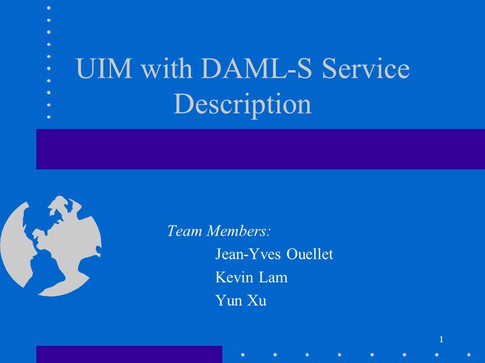 12 DAML-S Service Request Example <rdf:RDF xmlns:rdf= http://www.w3.org/1999/02/22-rdf-syntax-ns# xmlns:rdfs= http://www.w3.org/2000/01/rdf-schema# xmlns:daml= http://www.daml.org/2001/03/daml+oil# xmlns:profile= http://www.daml.org/services/daml-s/0.7/Profile.daml# xmlns:xsd= http://www.w3.org/2000/10/XMLSchema.xsd# > 1.0 print bond