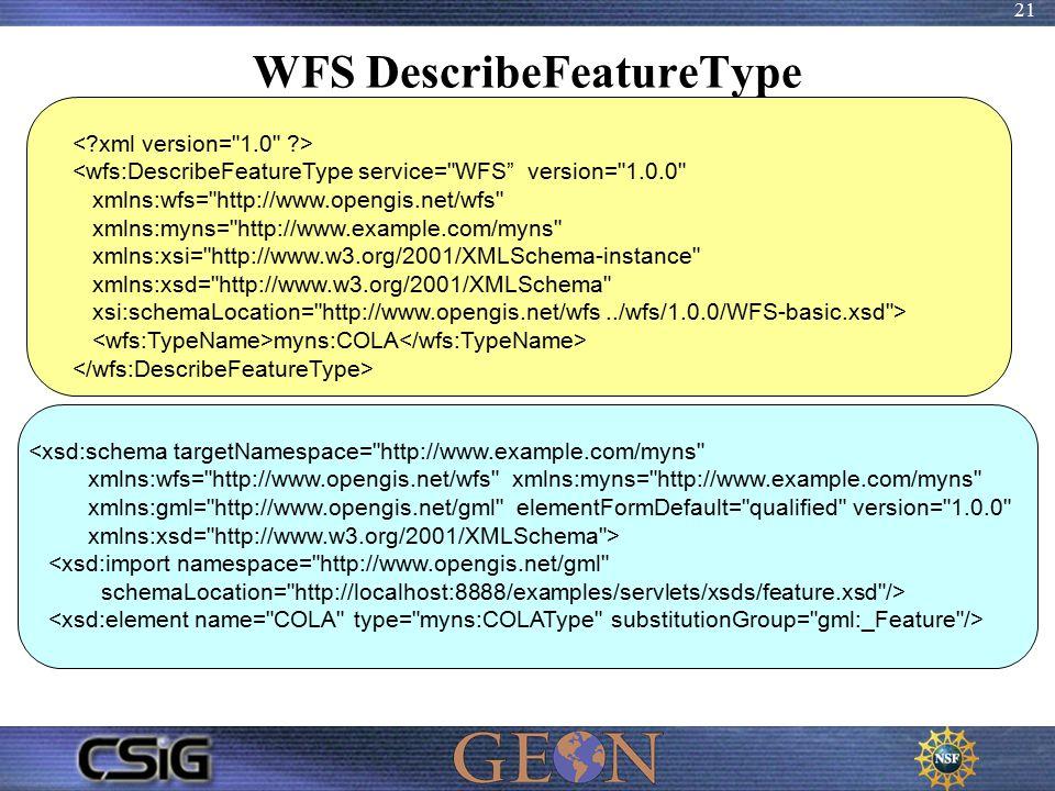 21 WFS DescribeFeatureType <wfs:DescribeFeatureType service= WFS version= 1.0.0 xmlns:wfs= http://www.opengis.net/wfs xmlns:myns= http://www.example.com/myns xmlns:xsi= http://www.w3.org/2001/XMLSchema-instance xmlns:xsd= http://www.w3.org/2001/XMLSchema xsi:schemaLocation= http://www.opengis.net/wfs../wfs/1.0.0/WFS-basic.xsd > myns:COLA <xsd:schema targetNamespace= http://www.example.com/myns xmlns:wfs= http://www.opengis.net/wfs xmlns:myns= http://www.example.com/myns xmlns:gml= http://www.opengis.net/gml elementFormDefault= qualified version= 1.0.0 xmlns:xsd= http://www.w3.org/2001/XMLSchema > <xsd:import namespace= http://www.opengis.net/gml schemaLocation= http://localhost:8888/examples/servlets/xsds/feature.xsd />