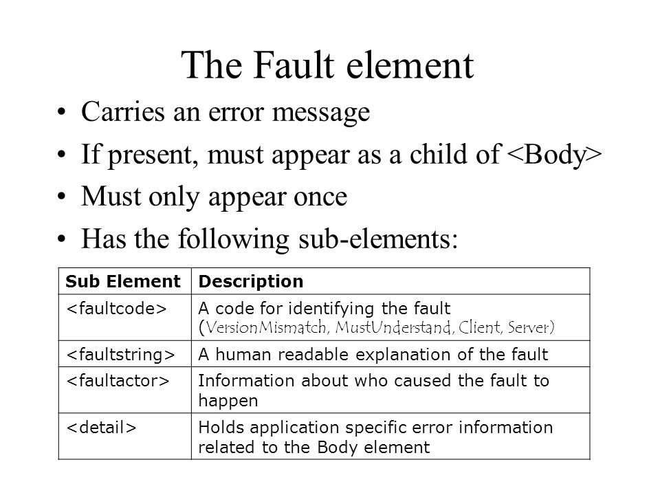 The Fault element Carries an error message If present, must appear as a child of Must only appear once Has the following sub-elements: Sub Element Description A code for identifying the fault ( VersionMismatch, MustUnderstand, Client, Server) A human readable explanation of the fault Information about who caused the fault to happen Holds application specific error information related to the Body element