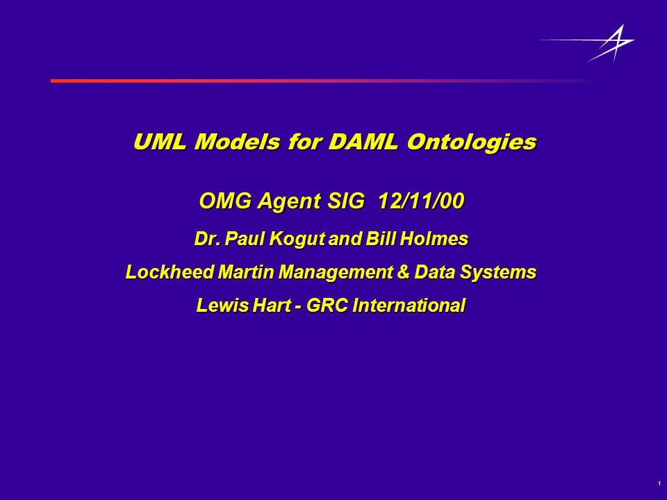 1 UML Models for DAML Ontologies OMG Agent SIG 12/11/00 Dr.