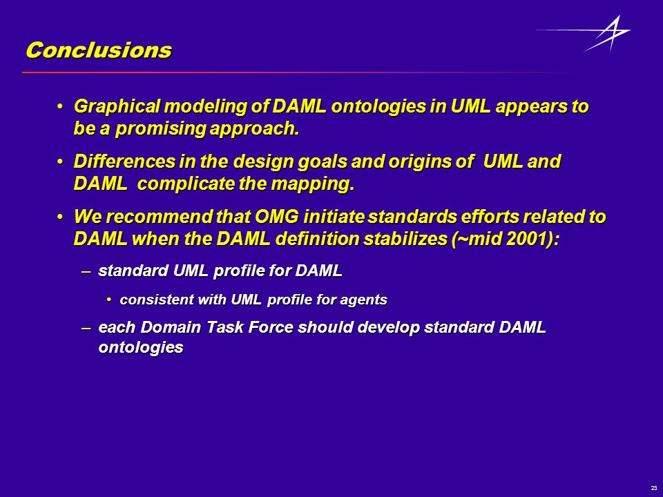 23 Conclusions Graphical modeling of DAML ontologies in UML appears to be a promising approach.Graphical modeling of DAML ontologies in UML appears to be a promising approach.