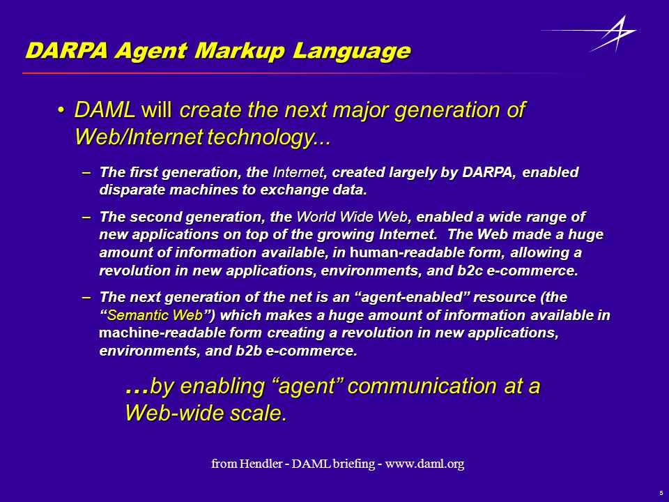 5 DARPA Agent Markup Language DAML will create the next major generation of Web/Internet technology...DAML will create the next major generation of Web/Internet technology...