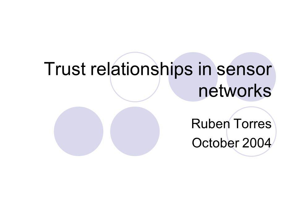 Trust relationships in sensor networks Ruben Torres October 2004