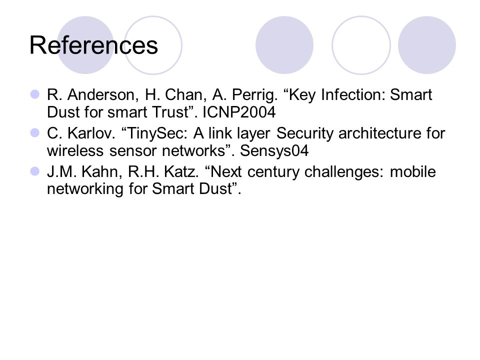"References R. Anderson, H. Chan, A. Perrig. ""Key Infection: Smart Dust for smart Trust"". ICNP2004 C. Karlov. ""TinySec: A link layer Security architect"