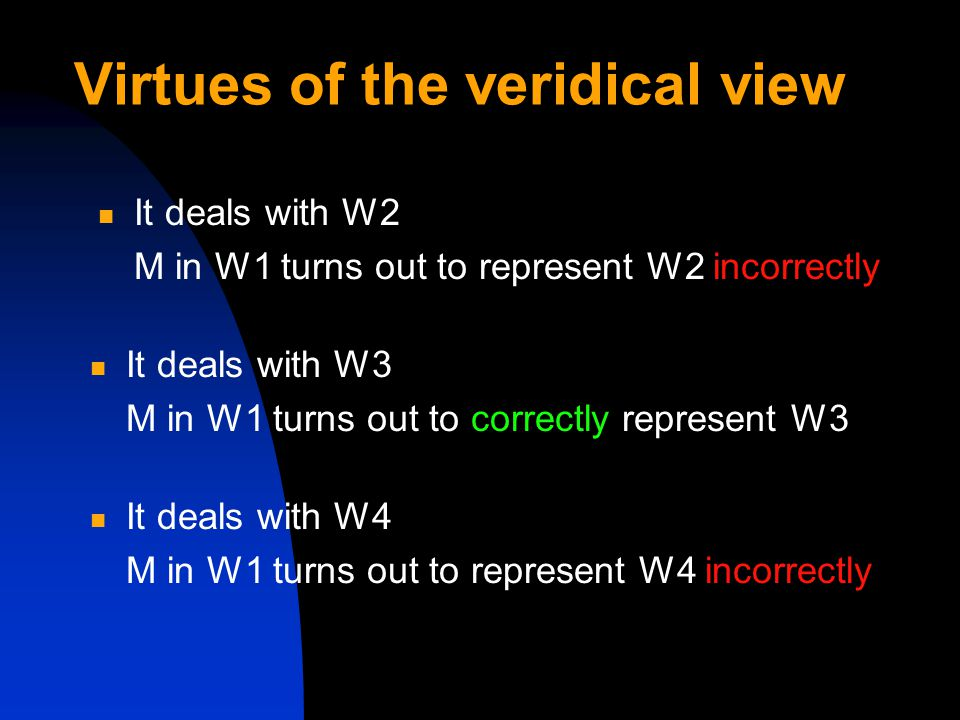 Virtues of the veridical view It deals with W2 M in W1 turns out to represent W2 incorrectly It deals with W3 M in W1 turns out to correctly represent W3 It deals with W4 M in W1 turns out to represent W4 incorrectly